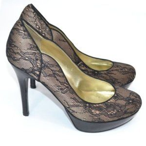 Guess Nude Beige Black Lace Stiletto High Heels 9